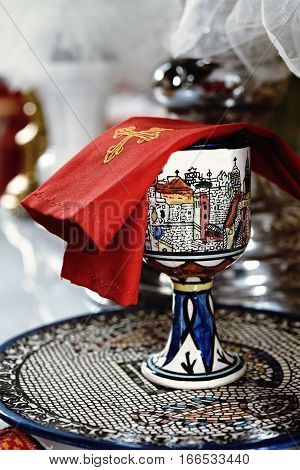 Cup In Catholic Church Or Cathedral, Religion Concept, Wedding Traditional Ceremony
