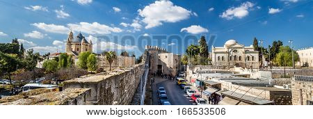 Panoramic view of Dormition Abbey and Zion Gate from the wall of the Old City of Jerusalem Israel
