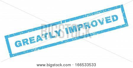 Greatly Improved text rubber seal stamp watermark. Tag inside rectangular shape with grunge design and unclean texture. Inclined vector blue ink emblem on a white background.