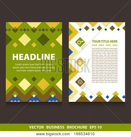 Vector flyers brochure green with rhombs and icons. Stock vector template easy to use. Size A4. Eps 10