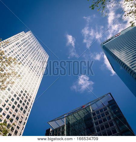 Skyscrapers, Docklands, London, Uk.