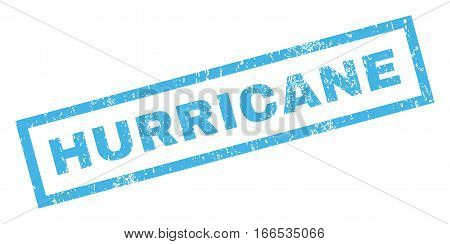 Hurricane text rubber seal stamp watermark. Caption inside rectangular banner with grunge design and dust texture. Inclined vector blue ink sign on a white background.