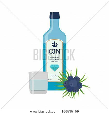 Traditional dry gin in blue bottle, juniper berries. Dry gin. Alcohol drink in flat vector style.