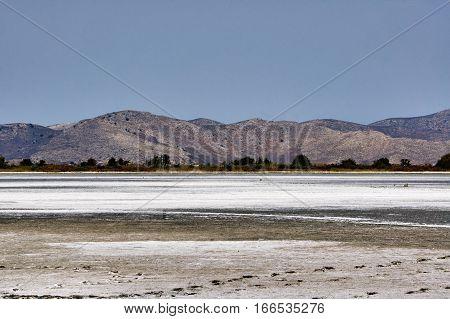 Salt on the bottom of the Salt Lake Alykes on the island of Kos in Greece