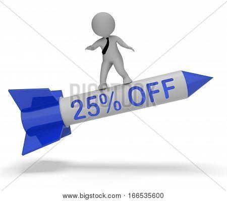 Twenty Five Percent Off Shows Discount 3D Rendering