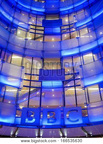 London UK - 26 October 2015: A low-angle view of the facade to the entrance of Broadcasting House the headquarters of the BBC in central London.