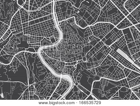 Vector detailed map Rome view from above