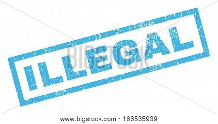 Illegal text rubber seal stamp watermark. Tag inside rectangular shape with grunge design and dirty texture. Inclined vector blue ink sign on a white background.
