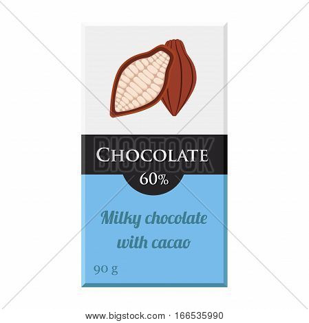 Chocolate bar. Cacao label package. Sweet milky product. Flat vector style.