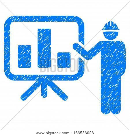 Engineer Pointing Chart Board grainy textured icon for overlay watermark stamps. Flat symbol with scratched texture. Dotted vector blue ink rubber seal stamp with grunge design on a white background.