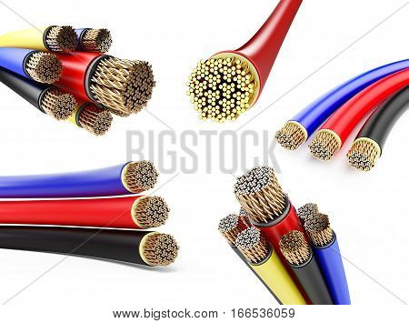 set wires 3D illustration on a white background