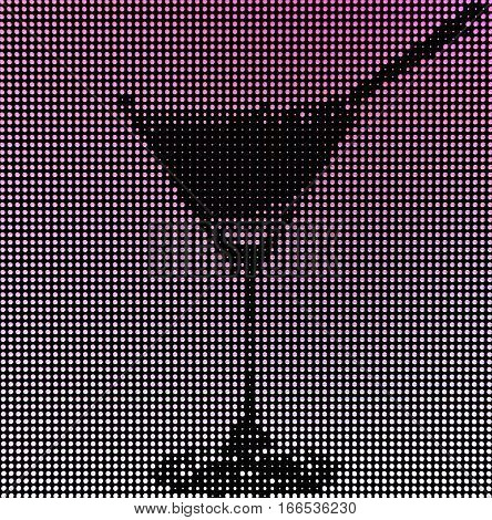 Silhouette glasses with a cocktail made of glowing bubbles. It can be used for background. 3d render image.