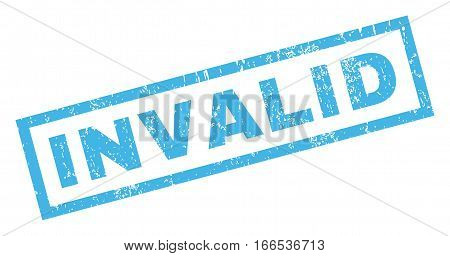 Invalid text rubber seal stamp watermark. Tag inside rectangular banner with grunge design and scratched texture. Inclined vector blue ink emblem on a white background.