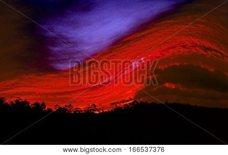 the fire wave of a fire in the forest, Surreal illustration