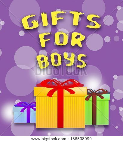 Gifts For Boys Shows Son's Present 3D Illustration
