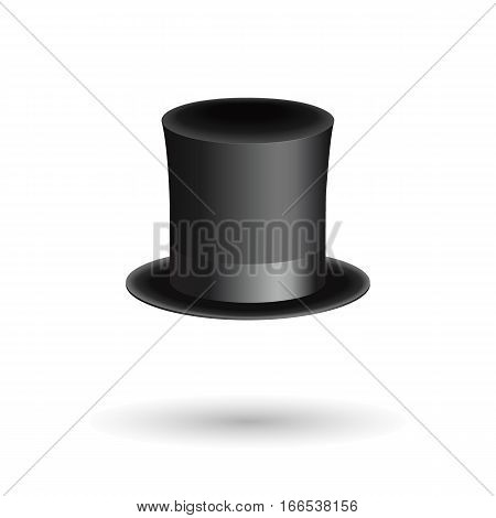 Black gentleman hat cylinder with ribbon. Luxury and wealth symbol. Isometric icon with shadow. Vector Illustration. EPS10 format.