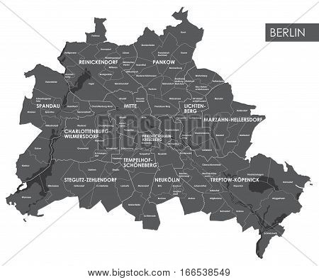 Vector map Berlin district view from above