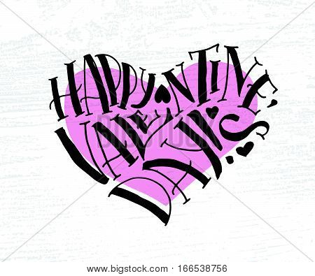 Hand Sketched Happy Valentine's Day Text As Valentine's Day Logotype, Badge/icon