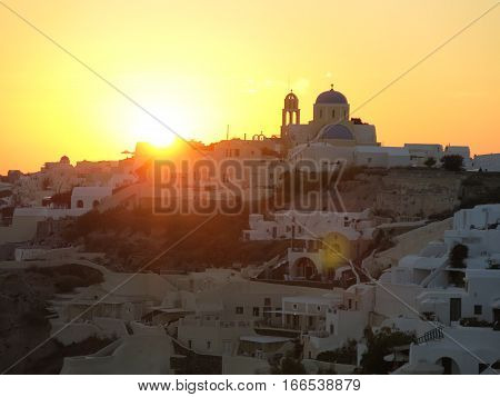 Oia Santorini Greece sundown white houses island