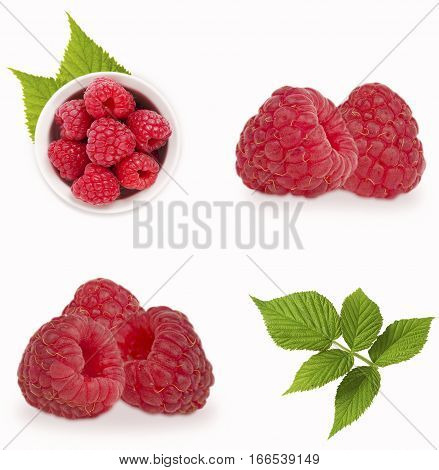 Raspberries set isolated on white background. Collage of raspberries. Raspberry close-up with leaves. Vegetarian or healthy eating. Juicy and delicious raspberries in different angles.