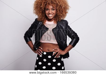 Beauty Smiling Black Woman With Big Afro Hair