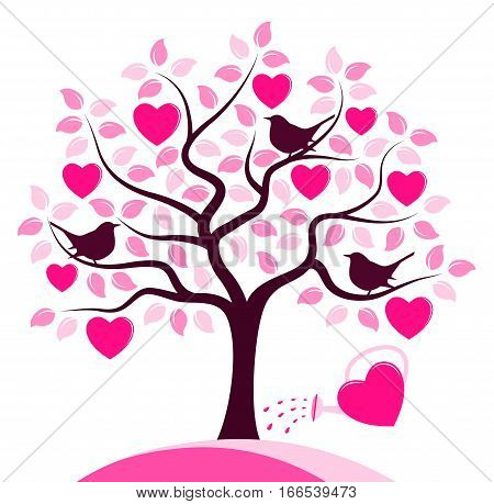 vector heart tree with birds and heart watering can isolated on white background