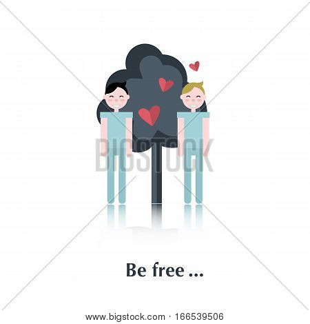 Two gay people.Vector people icon, pictogram.Concept free relationships, gay, blue, tree, red heart , over white with text Be free, in flat stile