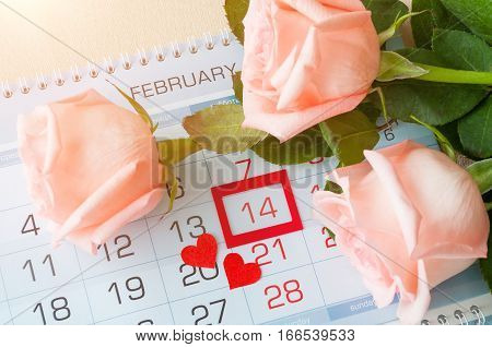 St Valentines day background - roses of light peach color and two red hearts on the calendar with framed St Valentines day date February 14 -concept of St Valentines day celebration. Top view of St Valentines day card