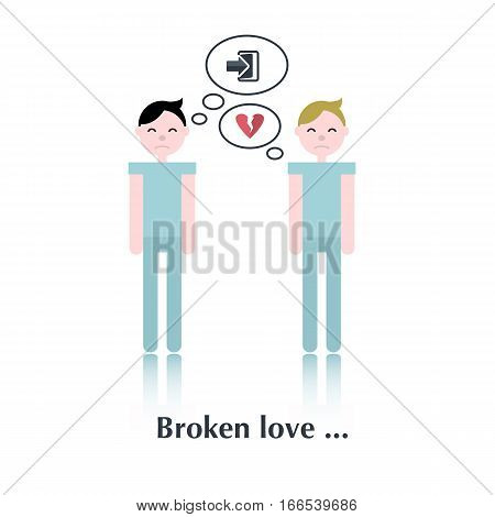 Gay relationship.Vector family people icon, pictogram.Concept relationship in family gay, leave, divorce , a broken family, heart, over white with text Broken love, in flat style