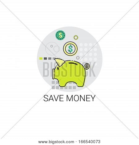 Save Money Piggy Bank Icon Vector Illustration