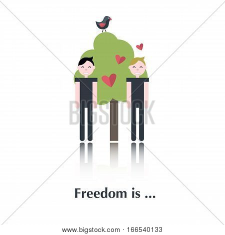 Gay people icon, pictogram.Concept free relationships, gay, tree, red heart , bird, over white with text Freedom is, in flat style