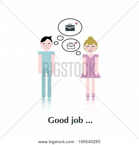 Vector people icon, pictogram, Concept good job, briefcase , couple over white with text Good job