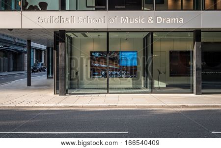 LONDON UK - 31 JULY 2016: The entrance to the new Milton Court concert hall part of the prestigious Guildhall School of Music and Drama in the Barbican Centre London.