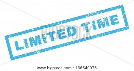 Limited Time text rubber seal stamp watermark. Tag inside rectangular banner with grunge design and dirty texture. Inclined vector blue ink emblem on a white background.