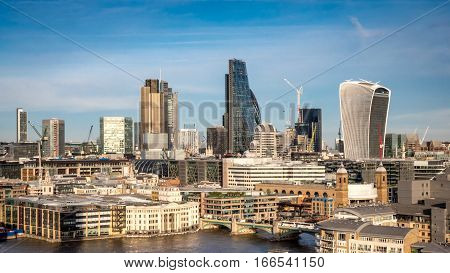 City Of London And River Thames Cityscape - High Angle