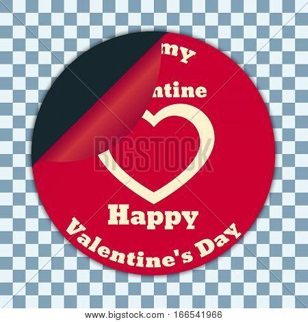Round sticker with a bent corner. White inscription Happy Valentine's on a red background.