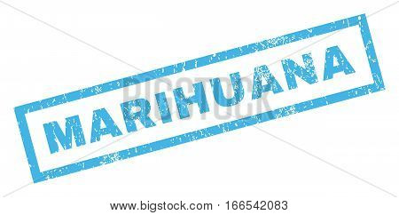 Marihuana text rubber seal stamp watermark. Caption inside rectangular shape with grunge design and unclean texture. Inclined vector blue ink emblem on a white background.