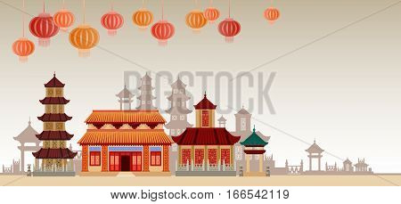 Chinese Traditional Abstract Buildings Colorful Ornament Banner Flat Vector Illustration