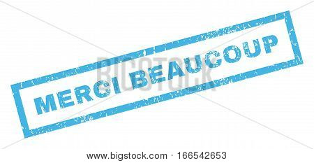 Merci Beaucoup text rubber seal stamp watermark. Tag inside rectangular shape with grunge design and scratched texture. Inclined vector blue ink sign on a white background.
