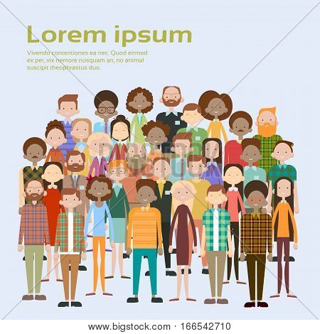 Group of Business People Big Crowd Businesspeople Mix Ethnic Diverse Flat Vector Illustration