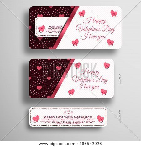 Vector set of greeting card insert in case with pattern from hearts and lines on the gray background.
