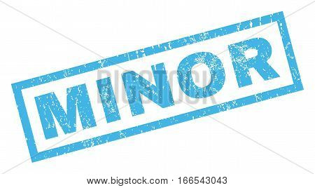 Minor text rubber seal stamp watermark. Caption inside rectangular banner with grunge design and dirty texture. Inclined vector blue ink emblem on a white background.