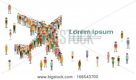 Group of Business People Airplane Shape Big Crowd Businesspeople Mix Ethnic Diverse Flat Vector Illustration