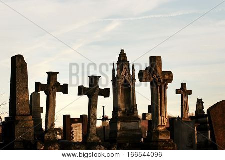 Old Stone Tombs On Graves On Ancient  Cemetery In Europe