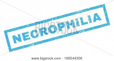 Necrophilia text rubber seal stamp watermark. Tag inside rectangular shape with grunge design and scratched texture. Inclined vector blue ink emblem on a white background.
