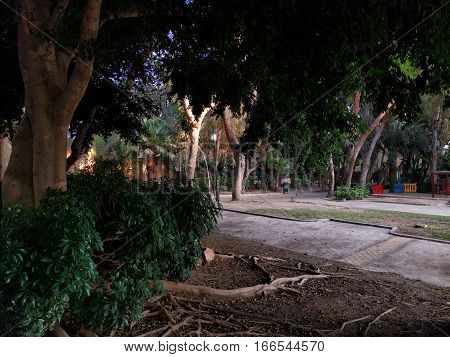 Park in Aguadulce city. Province of Almeria. Andalusia. Spain