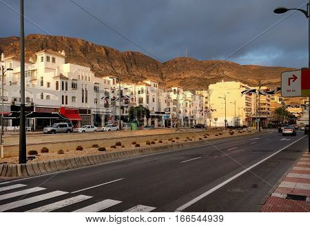 Aguadulce city road. Aguadulce is a spanish locality of Roquetas de Mar province of Almeria. Spain