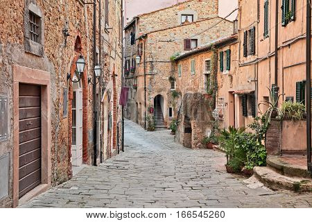 Castagneto Carducci, Leghorn, Tuscany, Italy: ancient street in the old town of Castagneto Carducci, the village where he lived the poet Giosue Carducci