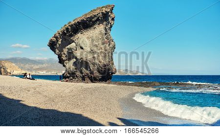 Carboneras Spain - December 29 2016: Picturesque Playa de Los Muertos or Beach of the Dead in Cabo de Gata-Nijar Natural Park. Carboneras. Province of Almeria. Southern Spain