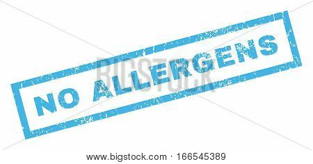 No Allergens text rubber seal stamp watermark. Caption inside rectangular shape with grunge design and unclean texture. Inclined vector blue ink emblem on a white background.